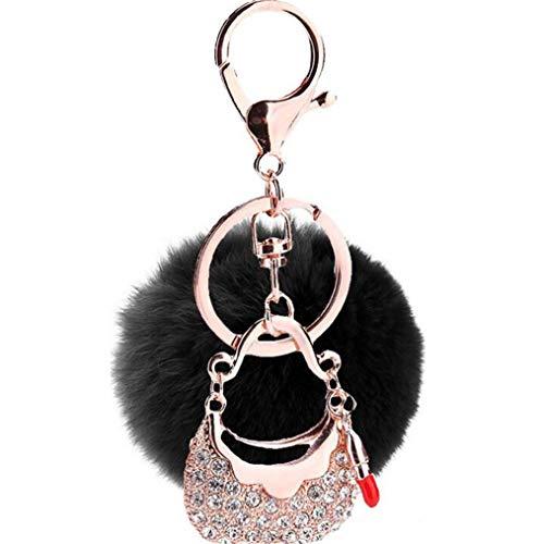 bommel Keychain Pompom Elegant Schlüsselanhänger plüsch Ball Taschenanhänger Strass mit Tasche Lippenstift Anhänger Plüsch-Kugel Auto-Anhänger Weich Schlüsselring (Schwarz)