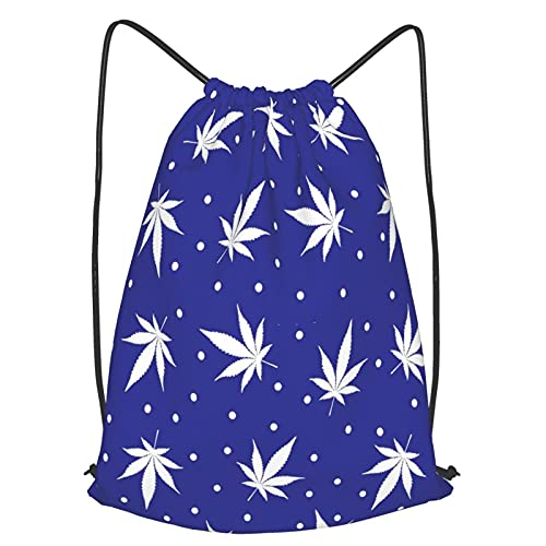 Unisex Gym Drawstring Bags,Vector seamless pattern of white snowflake marijuana leaves on a dark blue,Outdoor Travel Waterproof Cinch Sack Daypack for Beach Holidays