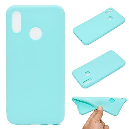 LeviDo Coque Compatible pour Huawei P20 Lite Étui Silicone Souple Bumper Antichoc TPU Gel Ultra Fine Mince Caoutchouc Bonbons Couleurs Design Etui Cover, Bleu Vert