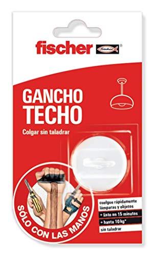 fischer 548839 Colgar SCLM Gancho blíster de 1 ud, para Pared y Techo, sujeta hasta 10kg, sin Agujeros, Incluye Pegamento de Contacto, removible, de fácil aplicación, Blanco