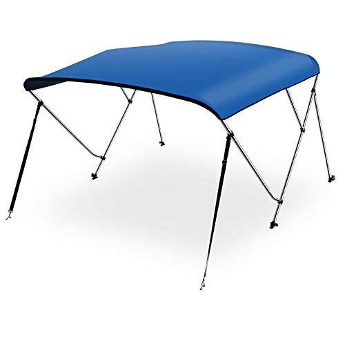 """SereneLife Waterproof Boat Bimini Top Cover - 79-84"""" W 4 Bow Bimini Top Canvas Sun Shade Boat Canopy 1"""" Double Wall Alu Frame Tube, 2 Straps 2 Rear Support Poles, Storage Boot SLBT4RB799 (Royal Blue)"""