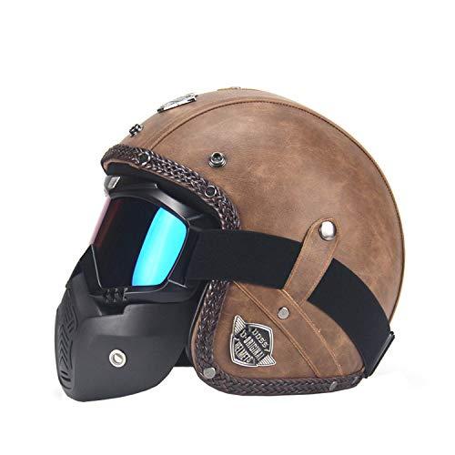 WENJHEN PU Leather Helmet 3/4 Motorcycle Chopper Bicycle Helmet Vintage Motorcycle Helmet and Goggles Mask Visor