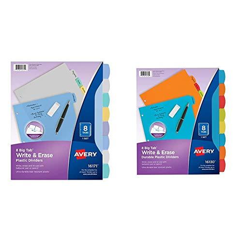 Avery 8-Tab Plastic Binder Dividers, Write & Erase Multicolor Big Tabs, 1 Set (16171),Translucent Multicolor & 16130 Big Tab Write & Erase Durable Plastic Dividers, 8 Multicolor Tabs, 1 Set