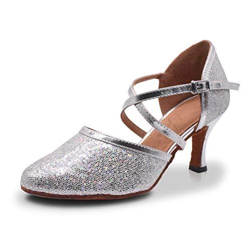 Jerilla Tanzschuhe Damen Standard und Latein für Innen Tanzen Anti-Rutsch Ballsaal Schuhe Silber