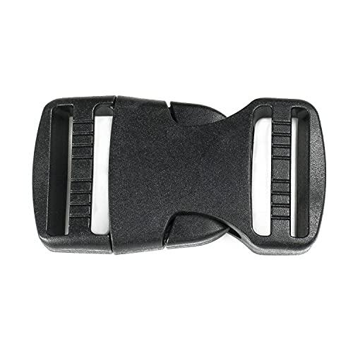 BORMAN 100 ud Hebilla de plástico de liberación Lateral pack 100ud Enganche de Plástico Hebillas de mochila Hebillas negras 25mm (25mm)
