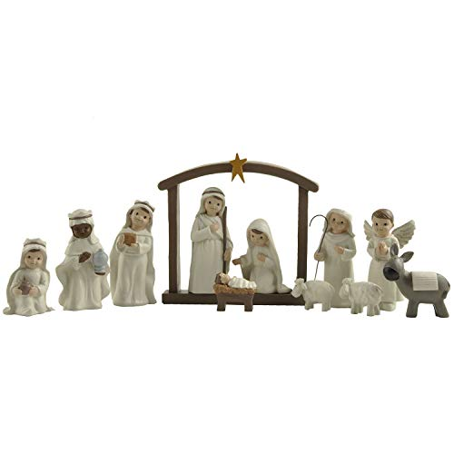 ENNAS 12 Pcs Nativity Set Small Figurines for Nativity Scene, Religious Gifts Precious Moment Christmas Manger Nativity Sets for Kids, Rustic Farmhouse Style