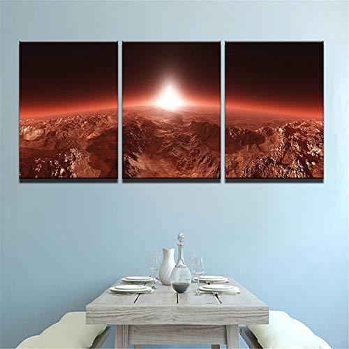 WSNDGWS HD sterrenhemel schilderij triple universum planet inkjet kunstenaar resistentie decoratief schilderij zonder fotolijst 40x60cmx3 C2
