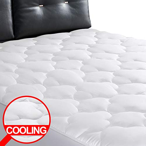 BAURAMORE Season Reversible Calking Mattress Pad - Microplush Microfiber Cooling Mattress Topper 400 Thread Count Plush Mattress Cover Quilted Fitted Pillow Top with 8-21