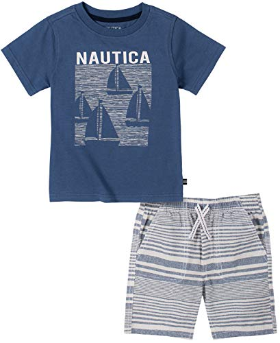Nautica Sets (KHQ) Boys' Shorts Set, Blue/Stripes, 3T