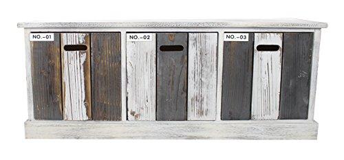 Holz Sideboard mit Kisten weiß grau