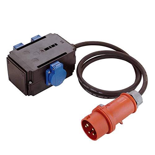 as - Schwabe MIXO Adapter / Stromverteiler NAGOLD – CEE-Stecker mit 1,5 m Gummischlauchleitung auf 3 Schuko Steckdosen – Robuster Baustellen Starkstrom-Verteiler – IP44 – Made in Germany I 60527