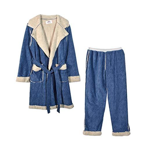 JFTMY De baño de Invierno Albornoz de Bolsillo con Capucha Vendaje Ropa de casa Ropa de Dormir Albornoz Pijamas Kimono (Color : Women's, Size : X-Large)