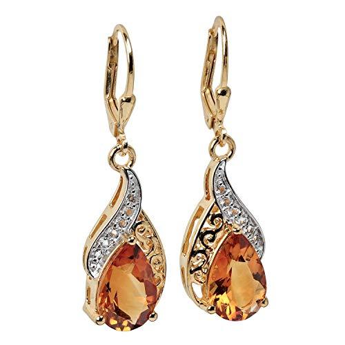 Harry Ivens Damen-Ohrhänger aus Silber 925 vergoldet mit Madeira Citrin und Weißtopas