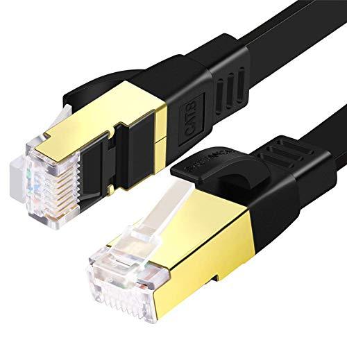 SHULIANCABLE Cable Ethernet Cat 8, Cable de Red Plano Cable de Conexión RJ45 LAN Cable 40 Gbps,2000Mhz, para Router,TV Box,PS5,Servidor (1M)