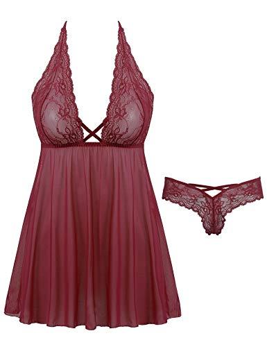 Women Sexy Lingerie Lace Babydoll Nightdress Mesh Chemise V Neck Sleepwear(Wine Red, Small)