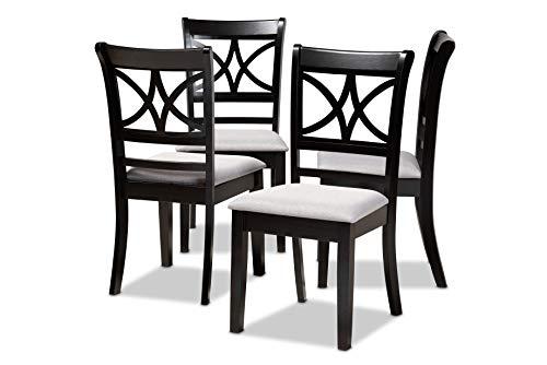 Baxton Studio Set of 4 166-10759-AMZ Dining Chairs, Grey/Espresso Brown
