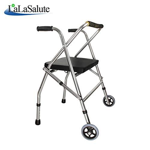 ShenzuYangShop kinderwagen, licht, draagbaar, rollator met wieltjes en verstelbare zitting van roestvrij staal voor gehandicapten.