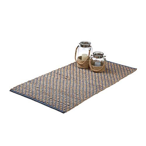 Relaxdays Teppich Jute, 70 x 140 cm Handarbeit, Natufaser, Karomuster, Flurläufer, Teppichläufer, Rutschfest, natur braun