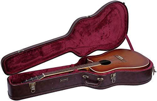 Crossrock Wooden Case for 6 or 12 String Acoustic Dreadnought Guitars,Brown (CRW620DBR)