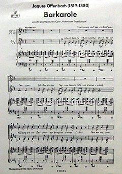 BARCAROLE (HOFFMANNS ERZAEHLUNGEN) - arrangiert für Frauenchor - Klavier [Noten / Sheetmusic] Komponist: OFFENBACH JACQUES