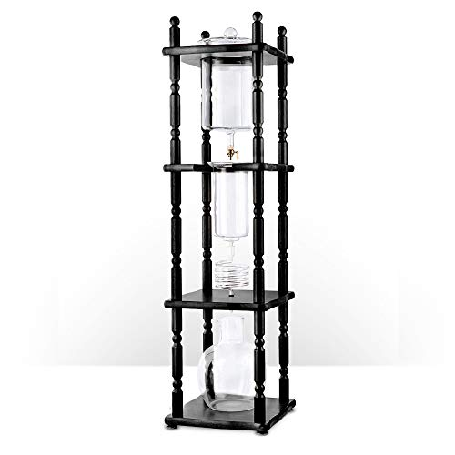 Commercial Cold Brew Coffee Drip Tower, Large 25 Cup Capacity Coffee Maker with Hand Blown Glass (Easy-clean Flat Black)