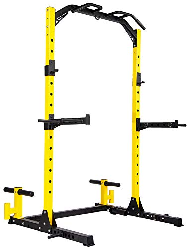 HulkFit Multi-Function Adjustable Power Rack Exercise Squat Stand with J-Hooks and Other Accessories,Multiple Versions, Pro, 1000LB Capacity