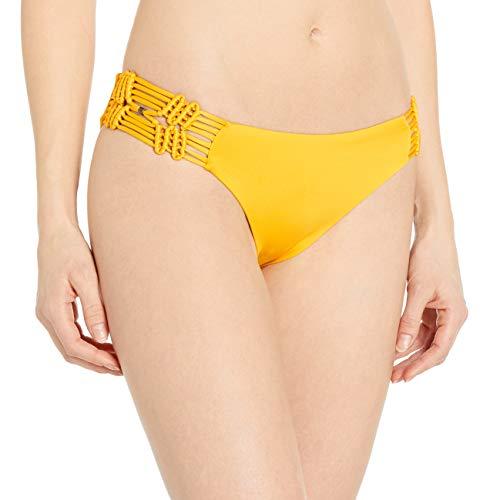 Dolce Vita Women's Solid Bikini Bottom with Macrame Side, Sunbeam, XS