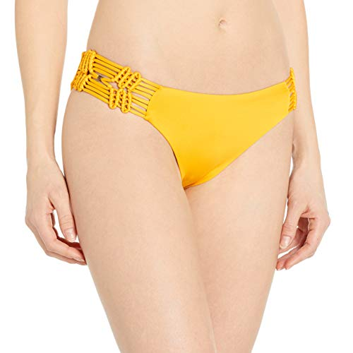 Dolce Vita Women's Solid Bikini Bottom with Macrame Side, Sunbeam, L