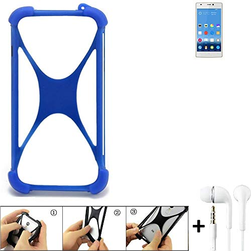 K-S-Trade® Handyhülle Für Gionee Elife S5.5 Bumper Schutzhülle Silikon Schutz Hülle Cover Case Silikoncase Silikonbumper TPU Softcase Smartphone, Blau (1x), Headphones