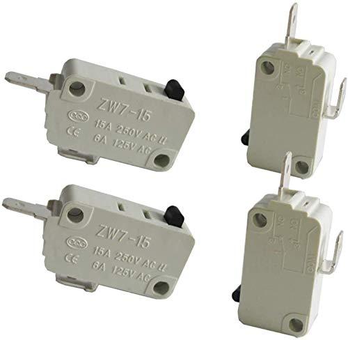DUDDP Pièces et Accessoires pour Micro-Ondes Réparation de la pièce / 4pcs Micro-Interrupteur de la Porte du Four Micro-Ondes Universel pour Le DR52 NC (normalement Proche) 16A 125 / 250V ZW7-15-W/N