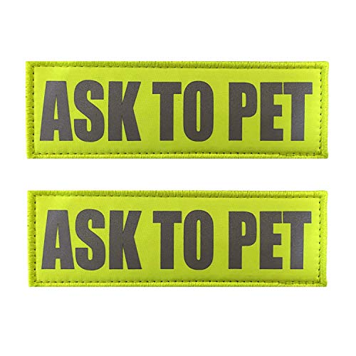 JUJUPUPS Reflective Dog Patches 2 Pack Service Dog ,in Training, DO NOT PET Tags with Hook and Loop Patches for Vests and Harnesses (6x2 inch, Ask to PET)