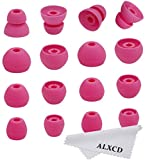 ALXCD Ear Tip for Tour2 Beats Tour Earphone, 8 Pair SML & Double Flange Durable Soft Silicone Replacement Ear Bud Eartip, Fit for Beats Tour Tour 2 Earphone [8 Pair](Pink)