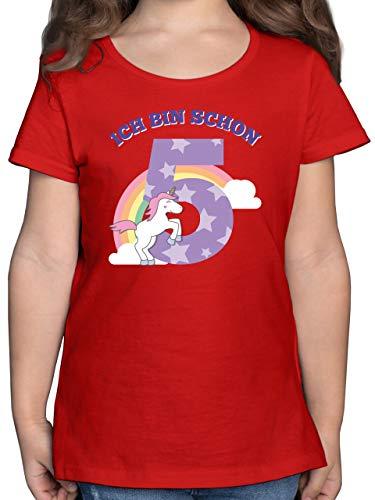 Kindergeburtstag Geschenk - Ich Bin Schon 5 Einhorn - 116 (5/6 Jahre) - Rot - Kinder Tshirt Einhorn ich Bin 1 Jahr - F131K - Mädchen Kinder T-Shirt