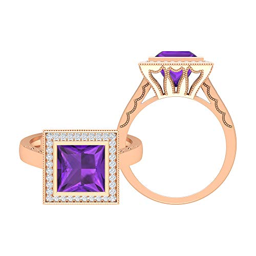 Anillo solitario de amatista corte princesa de 8 mm, D-VSSI Moissanite Halo, anillo grabado en oro, anillo de compromiso vintage (calidad AAA), 14K Oro rosa, Size:EU 70