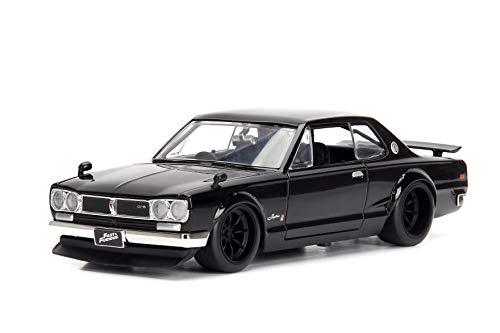 Jada 253203004 Toys Fast & Furious Brian 's 1971 Nissan Skyline GT-R 2000 (C10) - Coche Tuning a Escala 1:24 con alerón, Puertas abatibles, capó y Maletero, Rueda Libre, Color Negro
