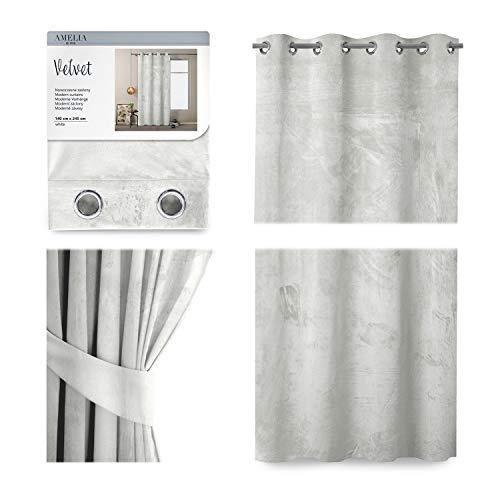 AmeliaHome Vorhang Velvet Optik 140x245 cm weiß 1 St. Ösenschal Samt Verdunkelungsvorhang Fensterdekoration Leicht Schimmernd Dekoschal Dekorvorhang