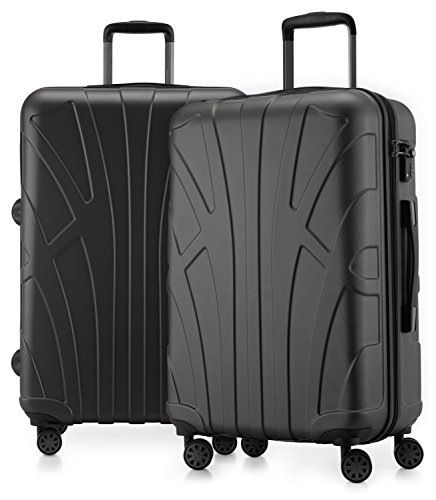 SUITLINE Suitline - 2er Koffer-Set Trolley-Set Rollkoffer Hartschalen-Koffer Reisekoffer, TSA, 66 cm, 100% ABS, Matt