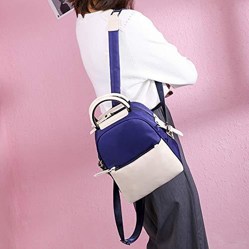 XGQ Fashion Oxford Cloth Backpack Girl Backpack Bag (Color : White Blue)