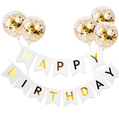 Nuluxi Joyeux Anniversaire Balloons Bannière Set Ballons de Dorés Bannière Happy Birthday Set de Papier D'aluminium Ballons Lettre Convient pour Décoration de Fêtes d'anniversaire (Bannière Blanche)