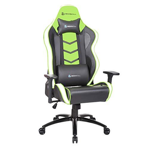 Newskill NS-CH-KAIDAN-GREEN Kaidan - Silla gaming profesional reforzada con estructura de metal (respaldo con mecanismo de mariposa reclinable en 180 grados, reposabrazos 3D) - Color Verde, mediano