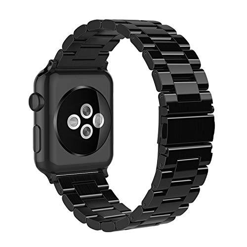 Simpeak Armband Kompatibel mit Apple Watch 44mm 42mm, Edelstahl Uhrenarmband Ersatz Armbänder mit Metallschließe Kompatibel für Apple Watch Series 5/4/3/2/1 - Helles Schwarz