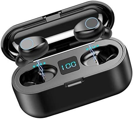 Volt Plus Tech Wireless V5.0 Bluetooth Earbuds Works for Samsung Galaxy S20 FE IPX7 Touch Waterproof/Sweatproof with Mic, 2000mAh PowerBank Charging case for in Ear Headphones (Black)