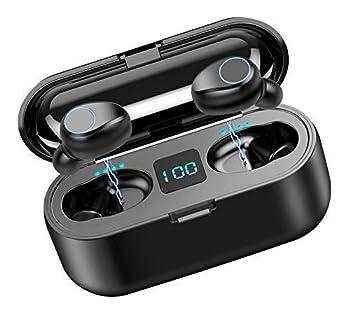 Volt Plus Tech Wireless V5.0 Bluetooth Earbuds Works for Motorola One 5G/Edge/Edge+/Razr 2020/Z Flip/Z Play/Moto IPX7 Touch Waterproof/Sweatproof with Mic 2000mAh PowerBank Charging case  Black