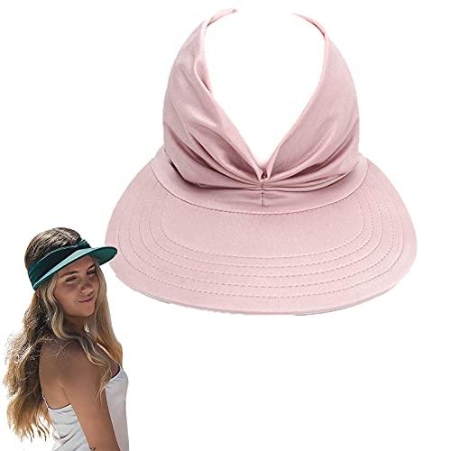 Elastic Hollow Top Hat, Sun Visor Hats Women Large Brim Summer UV Protection Beach Cap, Sun Visor Beach Hats for Women (Pink)