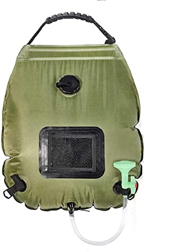 Intsun Outdoor Solar Shower Bag 20L/5 Gallons Portable Camp Shower Bag with Removable Shower Head and Hose for Camping Traveling Hiking Fishing Beach Swimming, Army Green