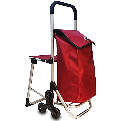 6in1 Einkaufstrolley Treppensteiger Einkaufsroller klappbare Einkaufswagen Faltbarer Einkaufsroller Kühltasche Stuhl Trolley Einkaufshilfe Einkaufskörbe & -Taschen (Rot)