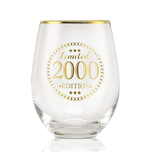 Onebttl 2000 21st Birthday Wine Glass for Women, Girl, Her - Limited 2000 Edition - 17oz/500ml Stemless Wine Glass - 21st Birthday Gifts Ideas for Daughter, Niece or Daughter