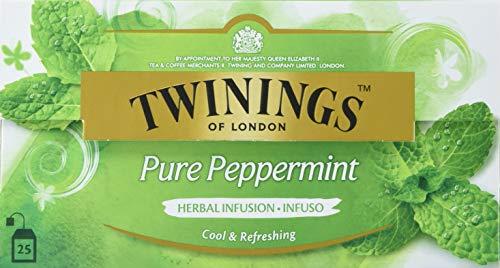 Twinings Pure Peppermint Tee, Erfrischender Pfefferminztee ∙ Intensiver und charakteristischer Geschmack ∙ 25 Teebeutel x 2g, 50g, Tea 12er Pack (12 x 50 g)