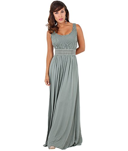 7091-KHA-SM: KRISP Damen Bodenlanges Kleid mit Lochmuster,Small-Medium (36-38)