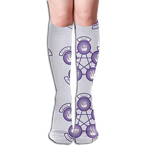 akingstore Piedra, papel, tijera, lagarto, Spock (púrpura) Tubo de mujer Rodilla Muslo Medias altas Calcetines de cosplay 50 cm (19,6 pulgadas)